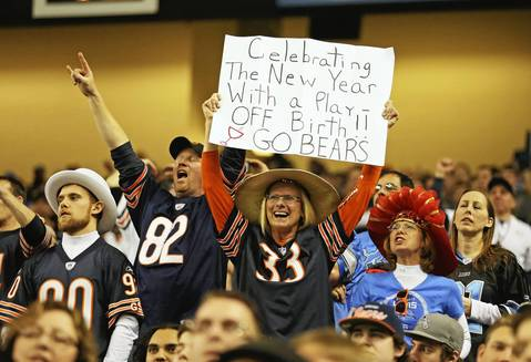 Bears fans during the second half at Ford Field.