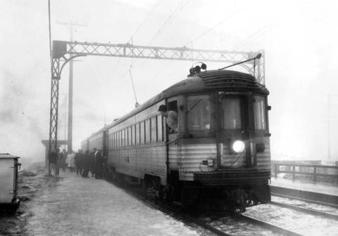 The North Shore line, seen here on Feb. 9, 1959 during a dense fog, at the Morton Grove station.