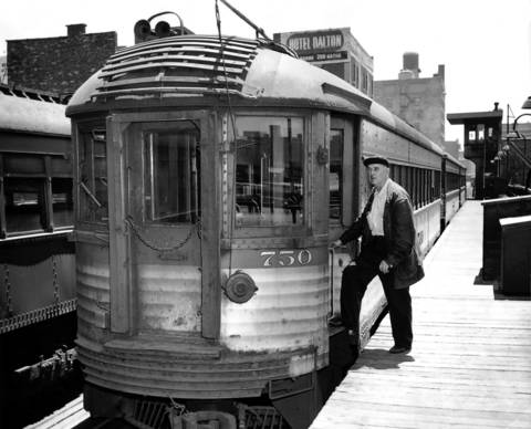 A Chicago North Shore and Milwaukee Railroad car sits in the electric lines 12th Street yards in 1962, a year before the North Shore line would shut down.