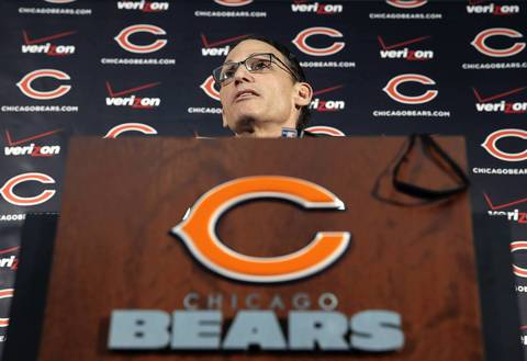 New Chicago Bears head coach Marc Trestman takes questions from reporters as the at Halas Hall.