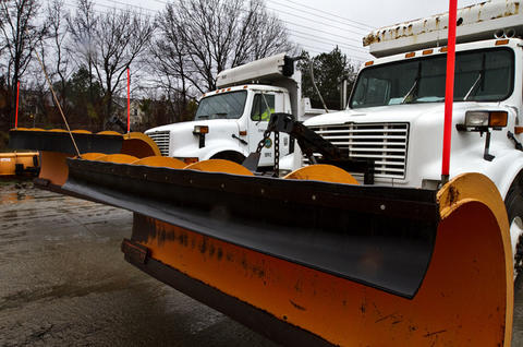 Newport News Operation Center readies their 21 trucks with plows and sand spreaders to work the area roadways in Newport News.