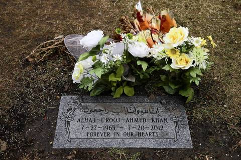 The gravesite of Urooj Khan at Rosehill Cemetery. Cyanide was found in his blood after his death.