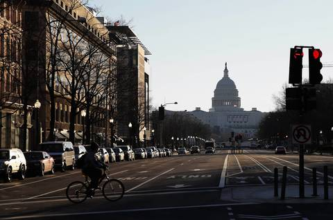 The U.S. Capitol down Pennsylvania Avenue before the Presidential Inauguration.