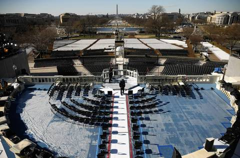 Set up continues at the U.S. Capitol on Saturday, Jan. 19, 2013 before the Presidential Inauguration.