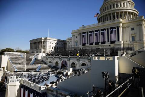 Set up continues at the U.S. Capitol before the Presidential Inauguration.