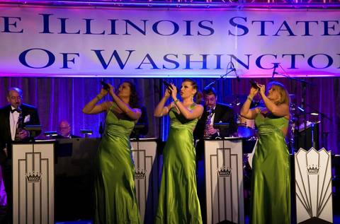 The Radio King Orchestra performs on the main stage at the Illinois Inaugural Gala at the Renaissance Washington Hotel in Washington D.C.