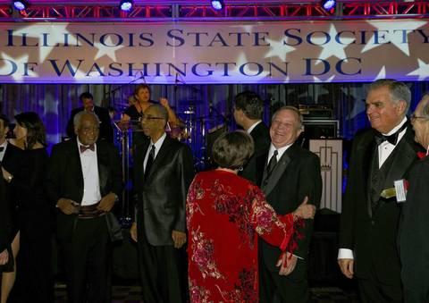 (L-R) U.S. Representatives Danny Davis and Bobby Rush, U.S. Sen. Dick Durbin and Transportation Secretary Ray LaHood mix it up at the Illinois Inaugural Gala at the Renaissance Washington Hotel in Washington D.C.,