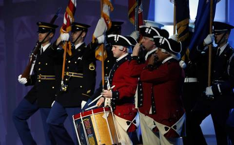 The colors are presented during the Kids' Inaugural Concert event at the Washington Convention Center.