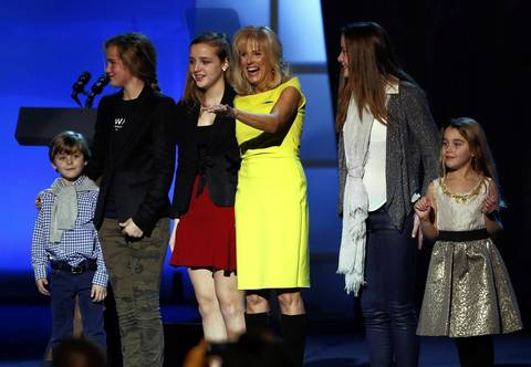 Dr. Jill Biden and family wave during the Kids' Inaugural Concert event at the Washington Convention Center.