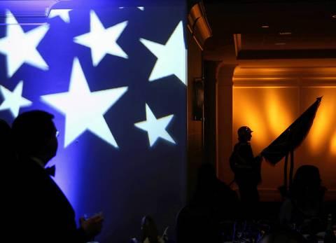 The color guard enters the room at the Illinois Inaugural Gala at the Renaissance Washington Hotel in Washington D.C.