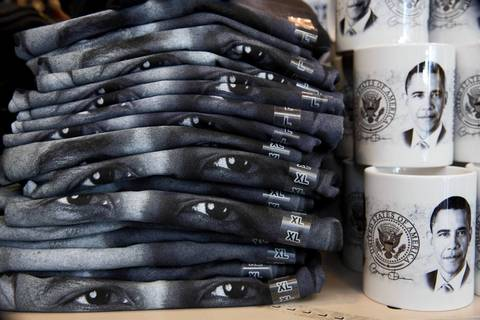 T-shirts and souvenirs of President Barack Obama are stacked and ready for the presidential inauguration in Washington D.C.