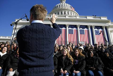 A choir rehearses at the U.S. Capitol the day before Obama's inauguration.