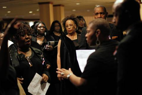 Attendees wait in line to get into the Illinois Presidential Inaugural Ball in Washington D.C.
