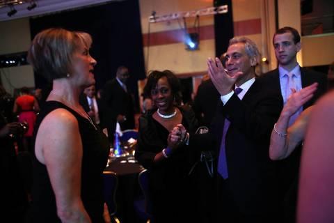 Chicago Mayor Rahm Emanuel greets Illinois Senate Republican Leader Christine Radogno at Illinois Presidential Inaugural Ball in Washington D.C.