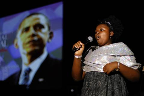 Mae Ya Carter-Ryan, 11, of Chicago, sings the National Anthem at Illinois Presidential Inaugural Ball in Washington D.C.