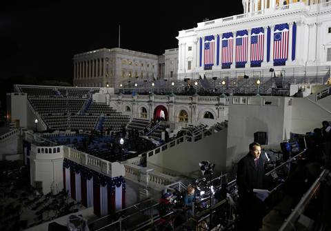 Preparation continues at 5:30 a.m. on Monday, ahead of the ceremonial inauguration of President Barack Obama at the U.S. Capitol.