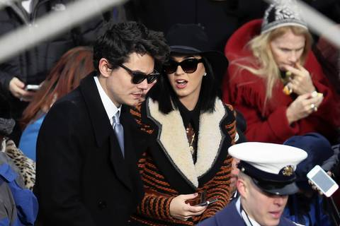 Musicians John Mayer and Katy Perry attend the presidential inauguration on the West Front of the U.S. Capitol in Washington, DC.