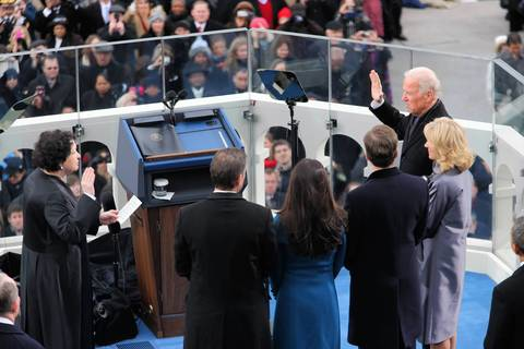 Vice President Joe Biden, far right, takes the oath of office from Supreme Court Justice Sonia Sotomayor at the West Front of the U.S. Capitol.