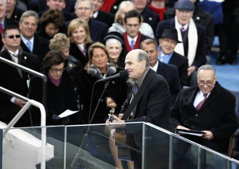 James Taylor performs at the inauguration of President Barack Obama at the U.S. Capitol.