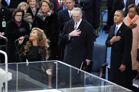 Beyonce sings the National Anthem after President Barack Obama took the oath of office at during inauguration ceremonies at the U.S Capitol.