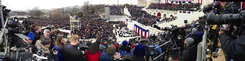 President Barack Obama delivers his inauguration speech during this panoramic view of ceremonies at the U.S Capitol.