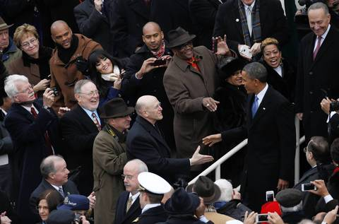 President Barack Obama enters the stage before his swearing-in as 44th President at the United States.