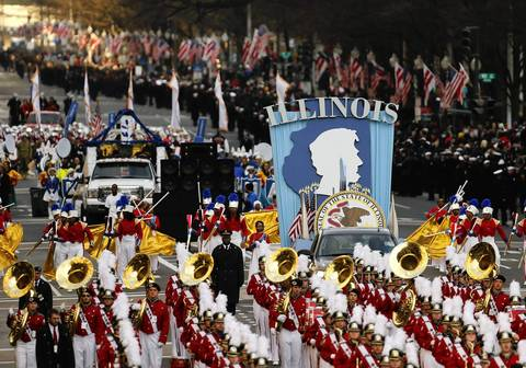The Illinois float makes it's way down the route during the Inaugural Parade of President Barack Obama on Pennsylvania Avenue in Washington, D.C.