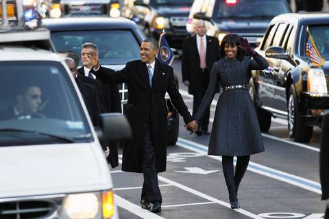 President Barack Obama and first lady Michelle Obama lead the Inaugural Parade in Washington, D.C.