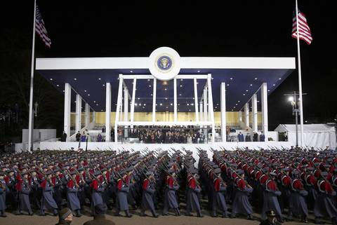 Cadets from the Virginia Military Institute--about 1,6000 of them--bring up the end of the Inaugural Parade, viewed by President Barack Obama and Vice President Joe Biden from the reviewing stand outside the White House.