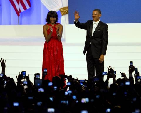 President Barack Obama and First Lady Michelle Obama dance at the Inaugural Ball at the Walter E. Washington Convention Center in Washington D.C.