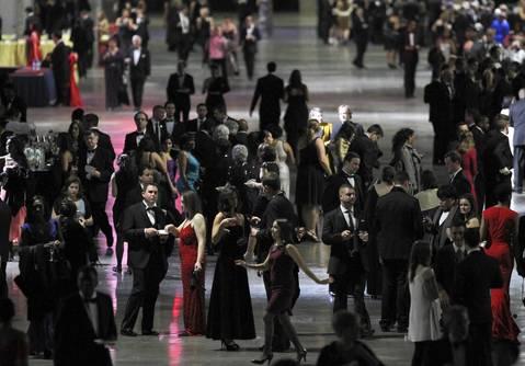 Attendees mingle at the Inaugural Ball at the Walter E. Washington Convention Center in Washington D.C.