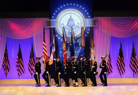 The Color Guard opens the Inaugural Ball at the Walter E. Washington Convention Center in Washington D.C. on Monday night.