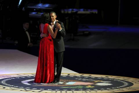 President Barack Obama and first lady Michelle Obama dance at the Commander in Chief Inaugural Ball at the Walter E. Washington Convention Center Monday night in Washington, DC. President Obama was sworn in for his second term earlier in the day.