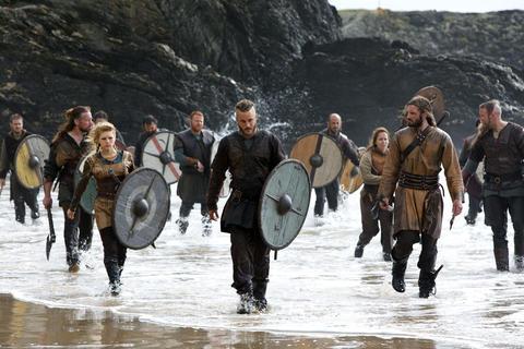 Floki (Gutaf Skarsgard, from left), Lagertha (Katheryn Winnick), Ragnar Lothbrook (Travis Fimmel, center) and Rollo (Clive Standen) come ashore.
