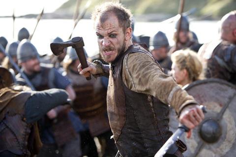 """Floki (Gustaf Skarsgard) fighting in battle in """"Vikings."""""""