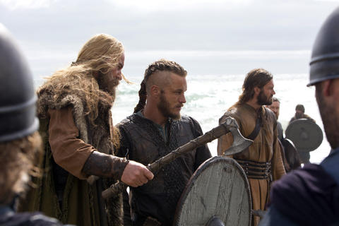 It wouldn't be a story about vikings without an Erik the Viking. Erik (Vladimir Kulich, left) advises Ragnar (Travis Fimmel) to take caution.