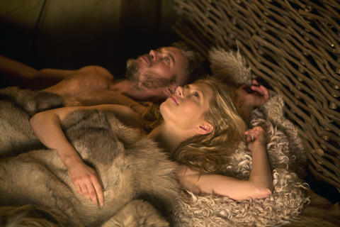 Did Vikings call it sexy time? Ragnar Lothbrok (Travis Fimmel) and his wife, Lagertha (Katheryn Winnick).