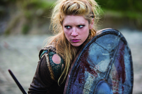 Lagertha (Katheryn Winnick) fights. Says History: Lagertha (Winnick) is the first wife of Ragnar's and their marriage is a love-match. Ragnar was first attracted to Lagertha when she came to fight for a local Norwegian ruler against an invading Sweden.