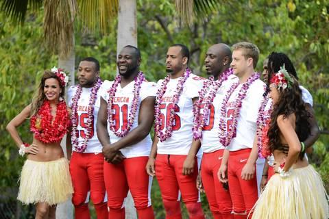 Hawaiian hostesses U'ilani LaBoy and Aureana Tseu pose with the Chiefs' Eric Berry, Tamba Hali, Derrick Johnson, Justin Houston, Dustin Colquitt and Jamaal Charles after their team photo.