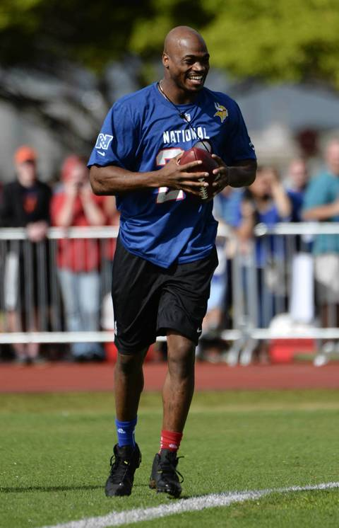 Vikings running back Adrian Peterson at NFC practice at Hickam Air Force Base.
