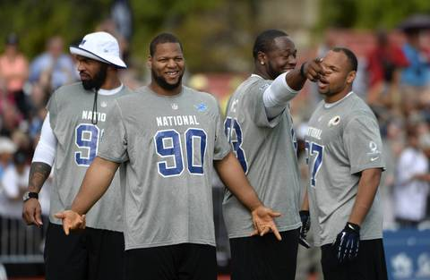 Julius Peppers, Ndamukong Suh, Gerald McCoy and Lorenzo Alexander at NFC practice.