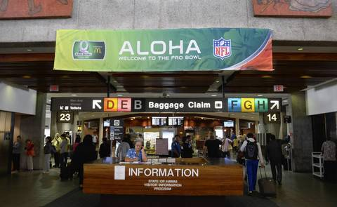 A general view of signage for the 2013 Pro Bowl at the Honolulu International Airport.