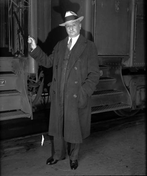 "Florenz Ziegfeld who arrived on the Rocky Mountain Limited en route to New York to open a new show November 11, 1931. Born in Chicago in 1867, Ziegfeld was one of the great show producers, most notable his annual ""Ziegfeld Follies"" that ran from 1907-31."