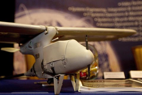 A Swiper Unmanned Aircraft System by Bosh Global Services sits on display at the fourth annual Workshop on Intelligence and National Security at Christopher Newport University on Tuesday.