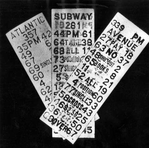 Policy game tickets, March 1955.
