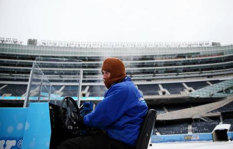 Daniel Minter resurfaces the Soldier Field ice.
