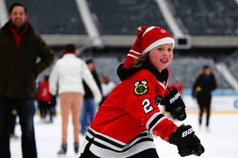 Nate Nichols, 9, skates at Soldier Field.