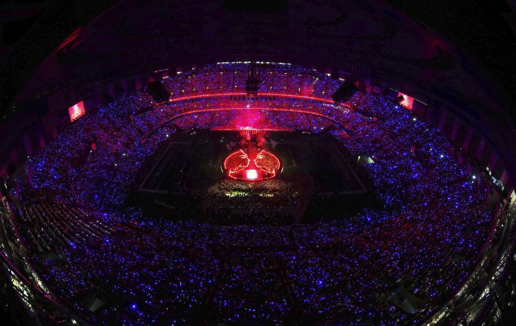 A general view of the performance by singer Beyonce during the Pepsi Super Bowl XLVII Halftime Show at the Mercedes-Benz Superdome in New Orleans, Louisiana.