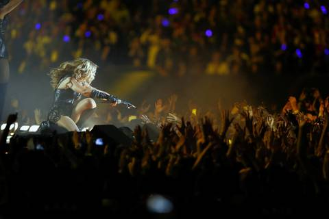 Recording artist Beyonce performs during the halftime show of Super Bowl XLVII between the San Francisco 49ers and the Baltimore Ravens at the Mercedes-Benz Superdome.