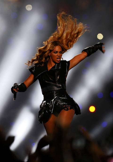Beyonce performs during the halftime show of the NFL Super Bowl XLVII football game in New Orleans, Louisiana.